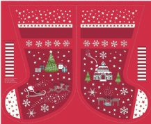 Lewis & Irene - Christmas Glow - 6714 -  Scenic Stocking Panel in Red - C51.3 - Cotton Fabric